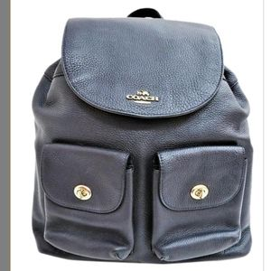 Spring SALE COACH Pebbled Leather Backpack Navy